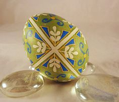 Chicken Pysanky Egg, Lime with Blue Cross and Pussywillows. $23.00, via Etsy.