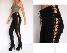 Vintage Lace Up Corset Gipsy Pants Rare Club Kid Goth Rocker Steampunk Grommets Cut Out Black High Waisted Leggings Burning Man Jeans. $350.00, via Etsy.