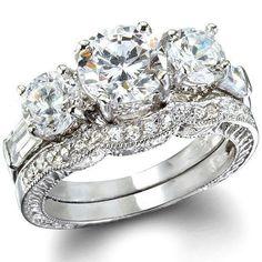2.85CT Women's Diamond Simulated Wedding Ring Set Engagement Ring Wedding Band Bridal Set 925 Sterling Silver Platinum ep CZ Eternity Ring #weddingring