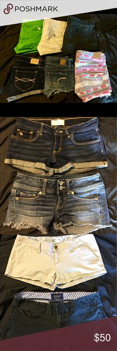Lot of American Eagle & Abercrombie & Fitch Shorts Pre-Owned Lot Of American Eagle AEO & Abercrombie & Fitch Shorts Size 00, 0, 2 & Girls Size 16. I wore all shorts last summer, so they all fit about the same except the size 2 are slightly bigger. All shorts are in great shape! Smoke Free Home! See my other listings for more name brand clothes! Shorts