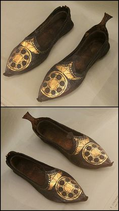 Byzantine women's shoes (for burial)  Victoria and Albert Museum, From  Renaissance Medieval rooms 400-600 Egypt.