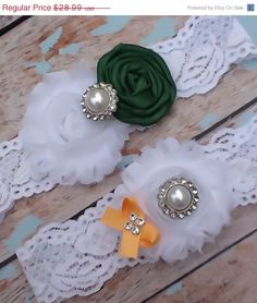 SALE(((LOOK))) / wedding garter  / PACKERS Inspired  /  bridal  garter/  lace garter / toss garter / Something Blue / vintage inspired lace. $25.99, via Etsy.