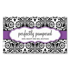 BUSINESS CARD stylish damask black violet purple. This great business card design is available for customization. All text style, colors, sizes can be modified to fit your needs. Just click the image to learn more!