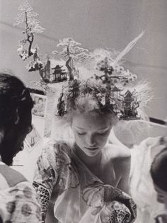 Gemma Ward backstage at Alexander McQueen S/S 2005