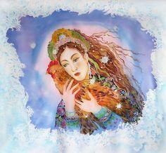 Silk Painting Batik Wall Hanging Textile Art Russian by SilkWonder