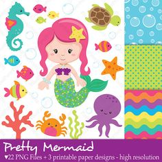 Pretty Mermaid Clip art and Digital paper set by pixelpaperprints, $6.00