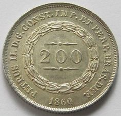Brazil, Silver Coin, 200 reis 1860, Very Scarce 28.000 minted, W/Detail, UNC !