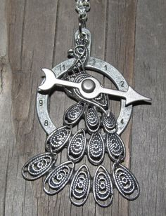 Silver Steampunk Peacock Necklace by K8eOrr on Etsy, $45.00
