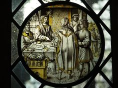Cambridge, England: King's College: chapel small interior stained glass window (16th century Flemish?)