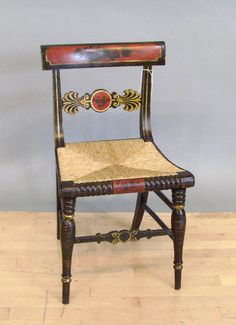 Typical Baltimore Fancy painted and gilt chair circa 1820-1840