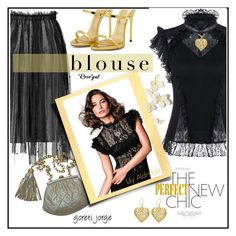 """""""Lace Blouse - Rosegal Contest"""" by goreti ❤ liked on Polyvore featuring Chanel, Giuseppe Zanotti and rosegal"""