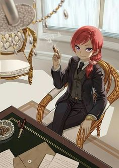 Maki as a businesswoman... just get rid of the ponytail hun