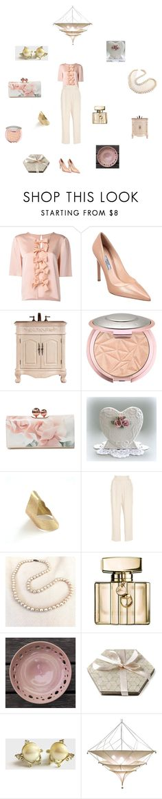 """cream blush gold"" by einder ❤ liked on Polyvore featuring Fendi, Prada, Ted Baker, Alice McCall, Gucci and vintage"