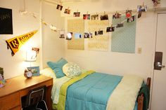 Cute university dorm room decor.