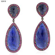 32.24ct Sapphire Ruby Diamond Dangle Earrings 18kt Gold Sterling Silver Jewelry #Handmade #DropDangle