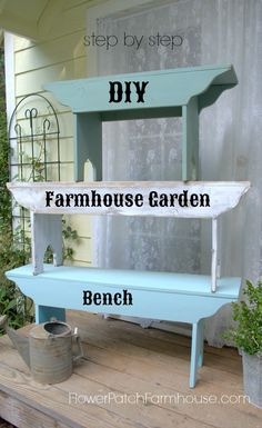 Easy to DIY Farmhouse #Bench. Customize it to fit your situation with paint, by size or even shape. Get the free downloadable pattern. #DIYDecor