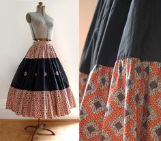V I  N T A G E Gypsy Peasant  Skirt. $55.00, via Etsy.