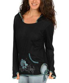 Look at this #zulilyfind! Black Lotus Appliqué Hooded Top by Jayli #zulilyfinds
