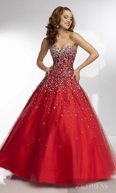 Elegant Natural Long Sleeveless Red Sweetheart Prom Dress