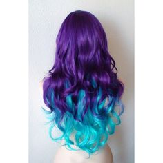 Deep purple / Teal Blue Cosplay wig. Long curly hair custom wig. ($140) ❤ liked on Polyvore featuring beauty products, haircare, hair styling tools, hair and curly hair care