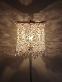 New Diy Lamp Shade Shabby Chic Light Fixtures Ideas Lace Lampshade, Lampshade Ideas, Doily Lamp, Crochet Lampshade, Linens And Lace, Shabby Chic Decor, Shabby Chic Lamp Shades, Vintage Lace, Vintage Music