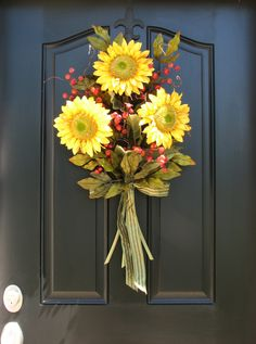 Sunflower Bouquet - Front Door Decor - Summer Wreath. You could even use fresh sunflowers with florist water tubes!!
