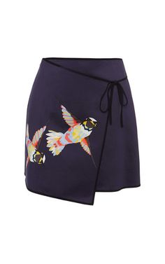 Msgm Navy Hummingbird Wrap Skirt by MSGM for Preorder on Moda Operandi