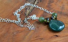 Long Sterling Silver Green Stone, Crystal, and Serpentine Necklace-Statement-Tunic