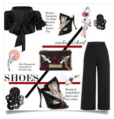 """Embellished Shoes"" by sofirose ❤ liked on Polyvore featuring Jil Sander, Boohoo, ALDO, mules, topset and embellishedshoes"