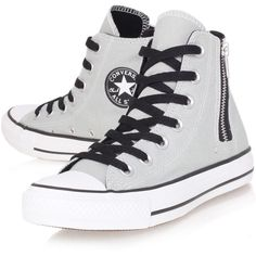 Converse Grey Chuck Taylor Side Zip Hi Top Trainers found on Polyvore