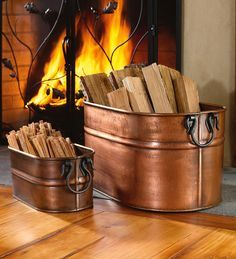 Metal Firewood Bucket with copper finish is inspired by classic wash boilers. Copper Firewood Bucket stores logs, fatwood and kindling to keep your hearth tidy.