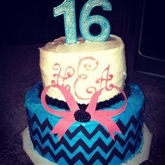 16th Birthday Cake. Chevron. Pink. Blue. Glitter. Black. Monogram.