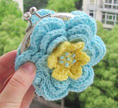 Ravelry: Rose Flower Crochet Coin Clutch Purse-PDF pattern by Yofi design
