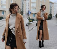 Get this look: http://lb.nu/look/8648581  More looks by Melike Gül: http://lb.nu/melikegul  Items in this look:  Jollychic Coat, Zaful Sweater, Romwe Pu Leather Skirt, Zero Uv Vintage Glasses   #casual #street #vintage