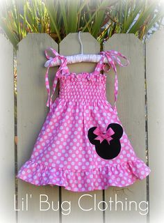 Custom Boutique Smocked Baby Pink Minnie Dress by LilBugsClothing, summer dress for Nina! Minnie Mouse Birthday Outfit, Minnie Dress, Pink Minnie, Minnie Mouse Party, Birthday Outfits, Birthday Tutu, Birthday Ideas, Little Girl Dresses, Little Girls