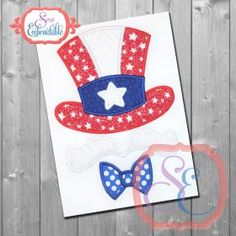 Patriotic Uncle Sam APPLIQUE - 4x4, 5x7, 6x10 & 9x9; Would look best on colored tee with the white mustache....