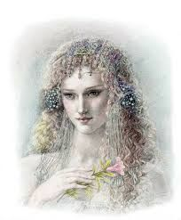 Persephone, formidable, venerable majestic queen of the underworld, who carries into effect the curses of men upon the souls of the dead. Illustration by Kinuko Y. Roman Gods, Fairy Tales For Kids, Greek Gods And Goddesses, Greek Mythology, Fantasy Authors, Hades And Persephone, Sacred Feminine, Animation, Illustrators