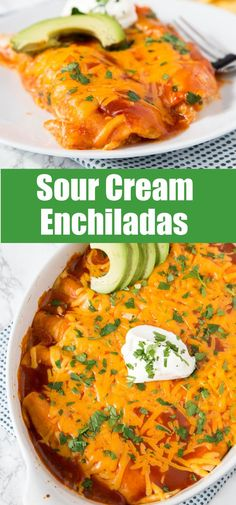 Sour Cream Chicken Enchiladas - Easy to make and absolutely delicious! Rich, creamy and great for any night of the week! Mexican Cooking, Mexican Food Recipes, Dinner Recipes, Dinner Entrees, Yummy Recipes, Sour Cream Enchiladas, Chicken Enchiladas, Sour Cream Chicken, Enchilada Recipes