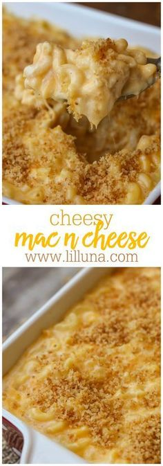 Cheesy Mac N Cheese - the cheesiest, CREAMIEST homemade mac n cheese you'll ever make! Macaroni pasta covered in sharp cheddar cheese, melted into a warm cream sauce, and topped with a perfect panko crust. The whole family will definitely approve!