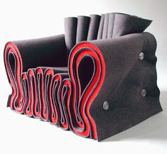 "Joseph Felt Chair 2 designed by Lothar Windels (from the Rhode Island School of Design) in 2003. Made from ""voluptuous folds of heavy red and gray felt"". Isn't it gorgeous!"