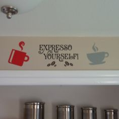 Colorful Coffee Cup Decal Group at the Shopping Mall, $10.00
