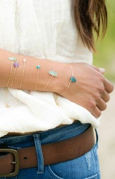 Layered gem bracelets