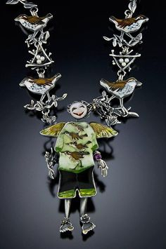 Sterling silver, 14 kt. gold, cloisonne enamel and pearls by Kristin Holeman, one of my favorite cloisonne artists.