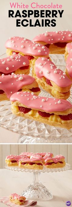 Up your party game with these White Chocolate Raspberry Éclairs. Filled with white chocolate pastry cream and fresh raspberries, this tasty éclair recipe is the perfect pop of pink that your party needs! Whether you're hosting an Easter brunch or a springtime soiree, these raspberry éclairs are sure to impress. Top your éclairs with a fresh raspberry glaze for an added touch of sweetness.