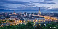 Turin (Torino), high definition panorama at twilight
