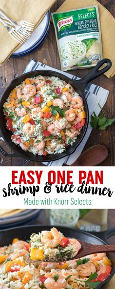 This easy one pan shrimp and rice dinner, made with new @Knorr Selects, is a delicious family meal idea. It comes together in just 20 minutes and new @Knorr Selects are made with no artificial flavors or preservatives! #KnorrSelectsPartner #AD