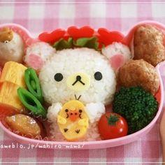 Korilakkuma Rice Ball, you can get this Bento Box Japanese Bento Box, Japanese Food Art, Japanese Dishes, Bento Box Lunch For Kids, Cute Bento Boxes, Kawaii Bento, Food Art Bento, Bento Recipes, Bento Ideas