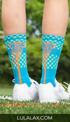 Rock your love for lacrosse from head to toe with our best selling woven mid-calf lacrosse socks! The bright, vibrant colors are so much fun and are sure to stand out on the field!