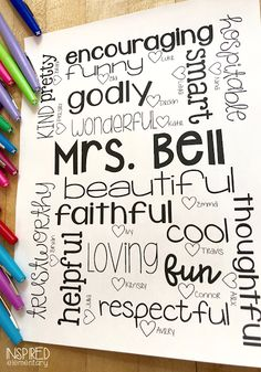 Adjective Collages | Inspired Elementary - DIY Teacher gift or parent volunteer gift idea.