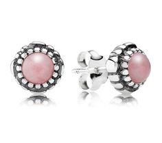 Pandora Silver Pink Opal October Birthstone Stud Earrings 290543POP - £45.00